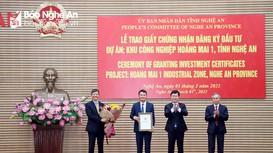 Nghệ An trao Giấy chứng nhận đăng ký đầu tư Dự án KCN Hoàng Mai 1 tổng vốn 750 tỷ đồng