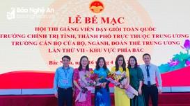 Giảng viên Trường Chính trị tỉnh Nghệ An đạt danh hiệu cao tại Hội thi giảng viên dạy giỏi toàn quốc
