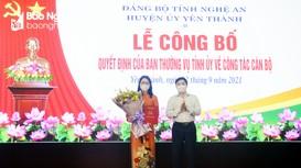 Công bố, trao Quyết định Phó Bí thư Thường trực Huyện ủy Yên Thành