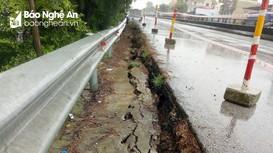Nghệ An: Sụt lún nghiêm trọng Quốc lộ 1A đoạn ven sông Bùng, đe dọa tới an toàn giao thông