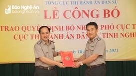 Bổ nhiệm Phó cục trưởng Cục Thi hành án dân sự tỉnh Nghệ An