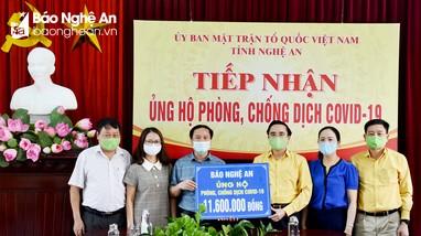 MTTQ tỉnh Nghệ An tiếp nhận tiền ủng hộ phòng, chống dịch Covid-19