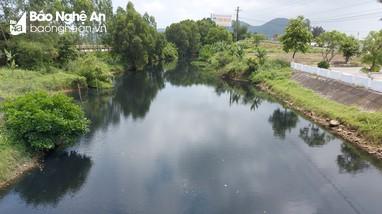 Nước kênh Nhà Lê ở Nghệ An đổi màu đen kịt, hôi thối nồng nặc