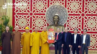 Ban Trị sự Giáo hội Phật giáo Việt Nam tỉnh Nghệ An thăm và chúc Tết UBND tỉnh