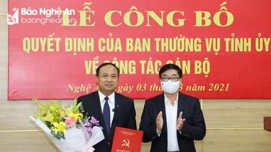 Trao Quyết định bổ nhiệm Phó Trưởng ban Tổ chức Tỉnh ủy Nghệ An