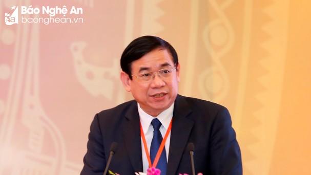 Ông Phan Đức Tú phát biểu tại Hội nghị Gặp mặt các nhà đầu tư Nghệ An  Xuân Mậu Tuất 2018. Ảnh: P.V