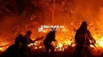 Không quản hiểm nguy, cả nghìn người lao vào dập lửa rừng trong đêm ở Nghệ An