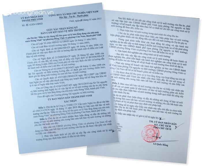 Giấy xác nhận đăng ký Bản cam kết Bảo vệ môi trường của UBND TP. Vinh cấp cho Công ty TNHH MTV Cấp nước Nghệ An