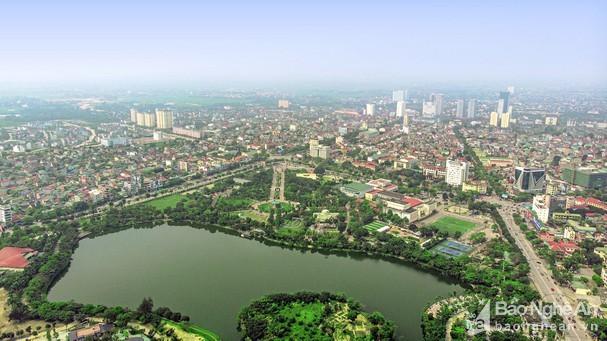 Thành phố Vinh nhìn từ trên cao. Ảnh: Sách Nguyễn.