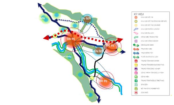 Sơ đồ quy hoạch các đô thị Nam Đàn có tầm nhìn đến năm 2050. Ảnh: Tư liệu