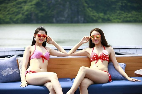 Dàn mỹ nữ Hoa hậu Việt Nam gợi cảm trên du thuyền 5 sao - 4