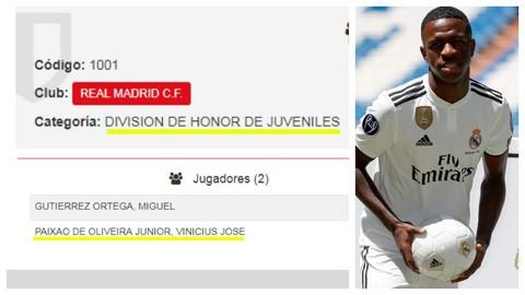 Thần đồng Vinicius Junior chỉ được đăng ký ở đội trẻ Real